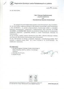 pismo z dnia 6 października 2016 roku RDLP w Lublinie ws. zwołania posiedzenia STAŁEGO ZESPOŁU ŁOWIECKIEGO ds. rozwiązywania problemów trudnych związanych z gospodarką łowiecką